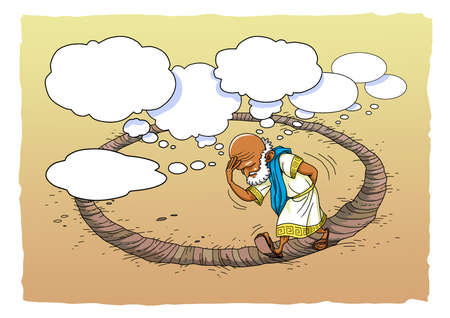 Greek philosopher thinks a lot and walks in a circle