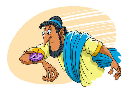 Ancient Greek checks the time on solar wristwatches