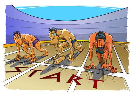 Greek runners stand at start and ready to run 版權商用圖片