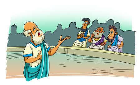 The Greek philosopher speaks in the stadium 版權商用圖片