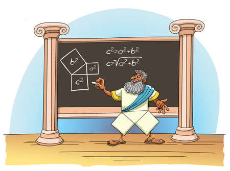 The mathematician Pythagoras writes and proves his theorem