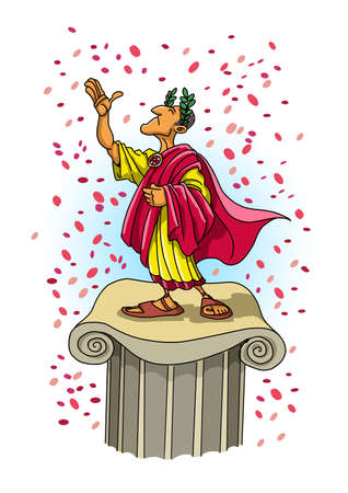 The proud Roman emperor on a pedestal receives honors and is showered with flower petals 版權商用圖片
