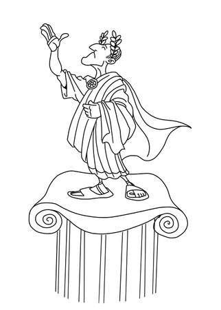 Proud Roman emperor on a pedestal receives honors