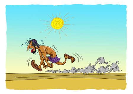 Greek marathon runner running through the desert and is very tired