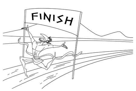 Greek runner crosses the finish line and tape