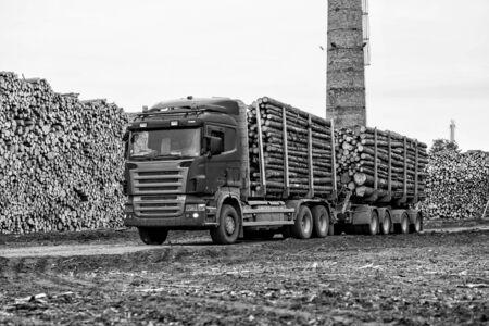 logging truck: Log truck waiting list for unloading. Stock Photo