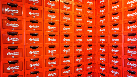 budejovice: Ceske Budejovice, Czech Republic - June 30, 2016: Budvar Budweiser brewery. Wall of beer crates.