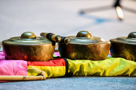 Indonesian ancient folk musical instruments. Close-up photography. Stock Photo