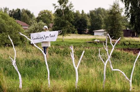 espantapajaros: Scarecrow with a poster looking for love in the neck. Wedding concept. Foto de archivo