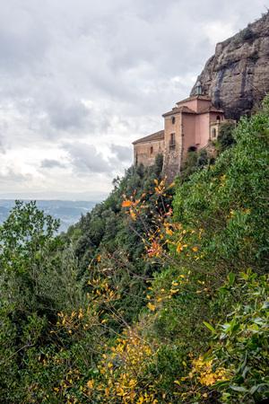 View of the Monastery to Santa Cova. Montserrat. Spain.