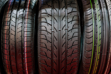 New Compact Vehicles Tires Stack. Winter and Summer Season Tires.