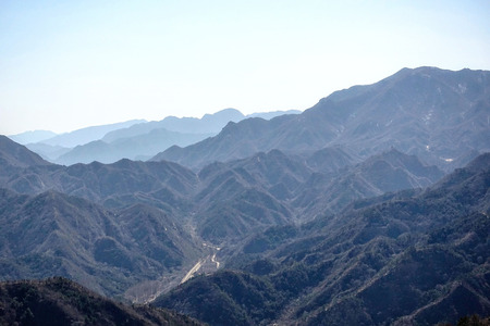 Mountain landscape near the Great Wall of China.