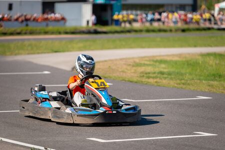ROPAZI, LATVIA - MAY 24, 2018: Student Sports Games ZZ CHAMPIONSHIP. Students from different classes show their skills in driving a karting on the race track.