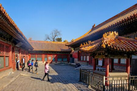 BEIJING, CHINA - MARCH 11, 2016: Forbidden City. People visit the Forbidden city, it was the Chinese imperial palace from the Ming dynasty to the end of the Qing dynasty.