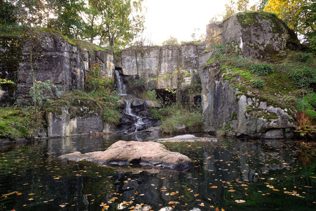 Rocky with a waterfall  at Skansen, an open-air museum and zoo in Stockholm Sweden. Stok Fotoğraf