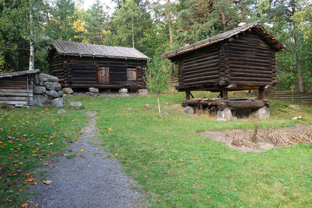 The autumn landscape of the Swedish countryside with meadows and ancient buildings. Stok Fotoğraf