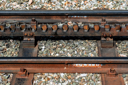 Close-up of a railroad track with a rack. 写真素材