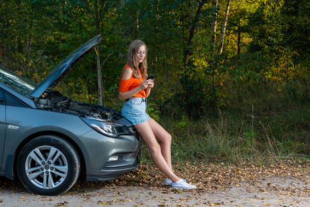 Female texting sms for car assistance - image