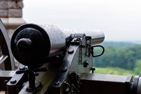 A close-up of a civil war cannon on the Gettysburg battlefield. Selective focus.