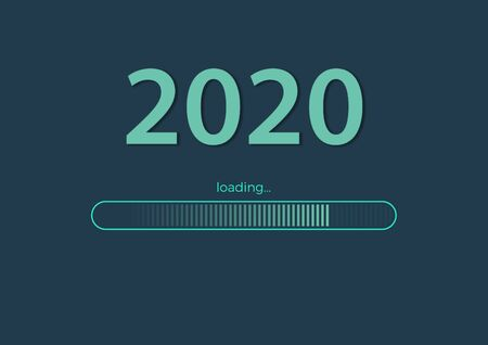 Text - 2020 loading and loading bar on sea green background, concept for New Year Background, your Seasonal Flyers, banner, sticker, and Greetings Card - image