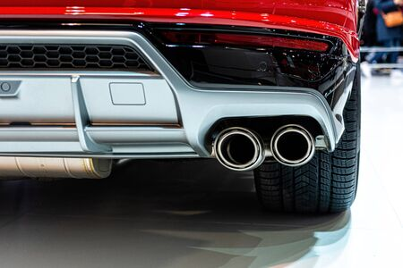 Expensive luxury sports SUV with dual exhaust. Exterior detail close-up - image
