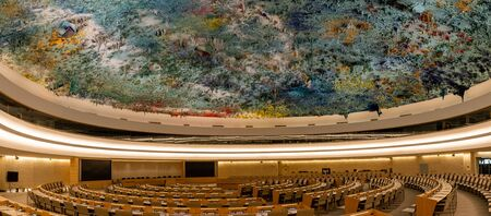 Geneva, Switzerland - April 15, 2019: An assembly hall in the Palace of Nations - UN headquarters in Geneva, Switzerland - image