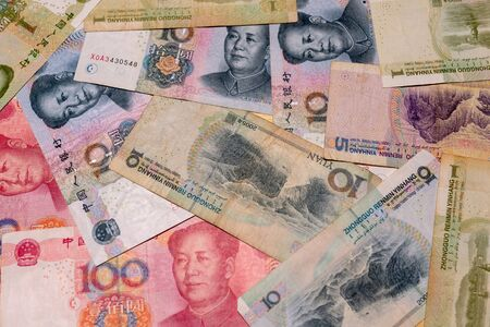 Yuan notes closeup. Chinese money is background - Image Stock Photo