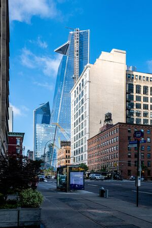 New York, USA - June 21, 2019: Manhattan landscape with residential and office buildings near Hudson Yards Editorial