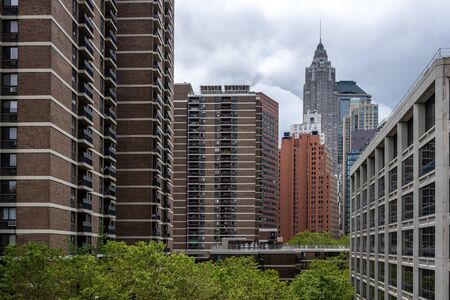 New York, USA - June 21, 2019: Manhattan landscape with residential and office buildings near Brooklyn bridge