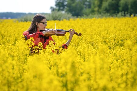 Young woman standing in yellow oilseed rape field and playing violin - image Reklamní fotografie