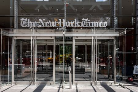 Manhattan, New York City, USA - June 6, 2019:   Facade an entrance of The New York Times (NYT and NYTimes) headquarters  on Eighth Avenue Redakční