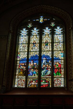 Geneva, Switzerland - April 14, 2019: Reformed Protestant St. Pierre Cathedral. Stained glass with religious motifs - image