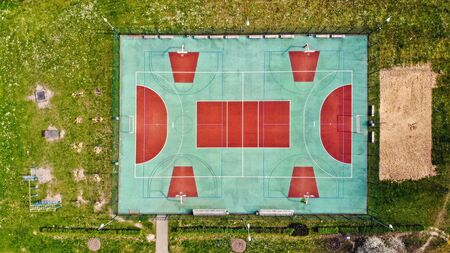 empty sports field from above, games field without any players during quarantine,social distance concept
