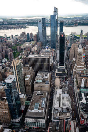 New York, USA - June 6, 2019: New York City. Wonderful panoramic aerial view of Manhattan Midtown Skyscrapers - Image Editorial