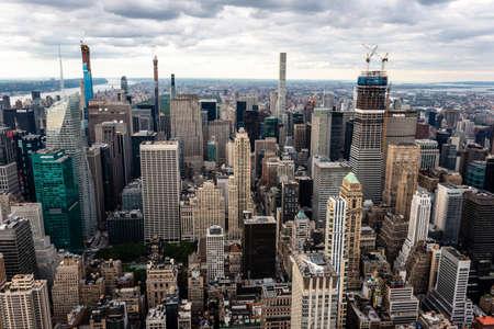 New York, USA - June 6, 2019: New York City. Wonderful panoramic aerial view of Manhattan Midtown Skyscrapers - Image