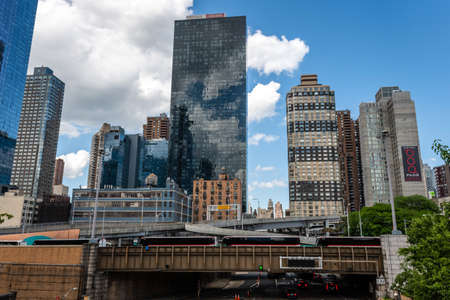 New York, USA - June 21, 2019: Manhattan landscape with residential and office buildings near Hudson Yards