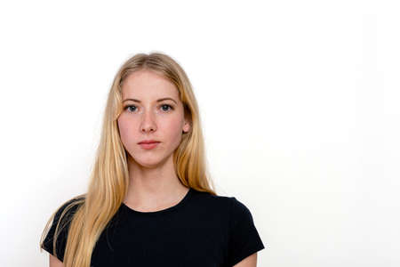 portrait of a young blonde woman isolated on a white background Standard-Bild