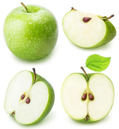 Grünschnitt Apfel auf einem weißen Hintergrund isoliert
