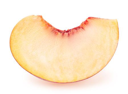 sweet segments: peach fruit sliced isolated on white background Stock Photo