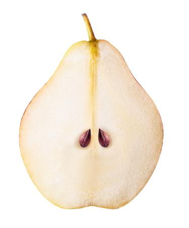 sweet segments: Pear fruit sliced isolated on white background Stock Photo