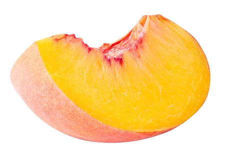segmento: peach fruit sliced isolated on white background Foto de archivo