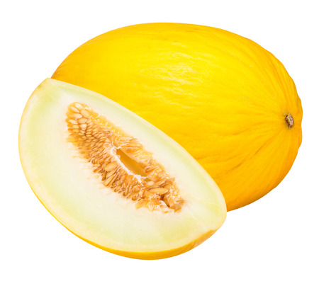 isolated on yellow: Set of yellow melon isolated on white background  with clipping path
