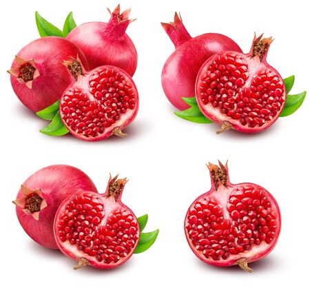 Set of pomegranetes isolated on white bsckground with clipping path