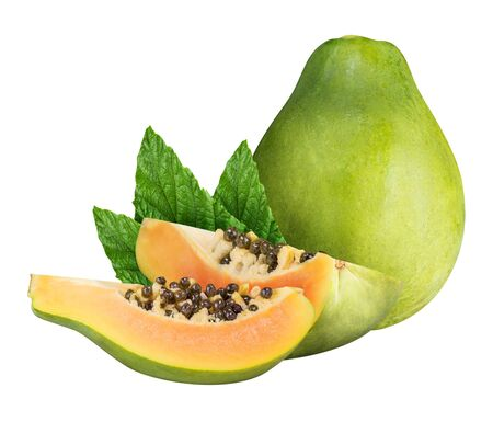 Group of papaya isolated with clipping path Stock Photo