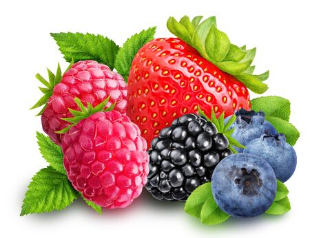 Strawberry, blackberry, blueberry, raspberry isolated with clipping path Stock Photo