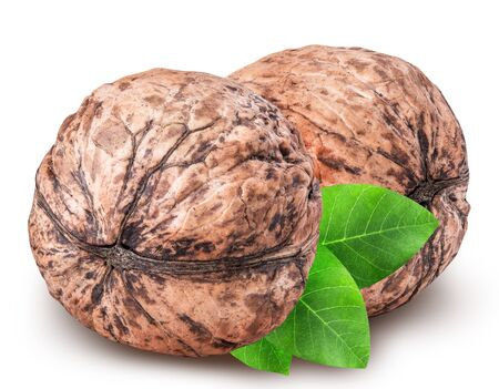 nutshells: walnut isolated on white background with clipping path