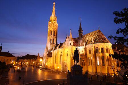 stephen: St. Matthias Church in Budapest at night, Hungary. Stock Photo