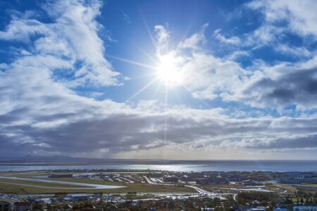 View from the altitude of the city of Reykjavik, Iceland. Stock Photo