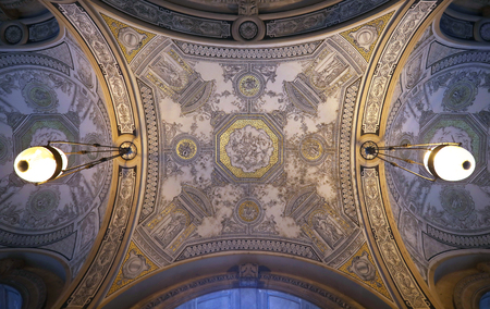 Detail from the ceiling of Opera house in Budapest, Europe.
