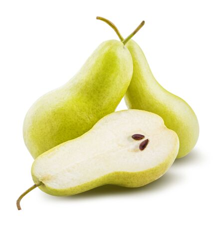Fresh pears isolated on white background with clipping path